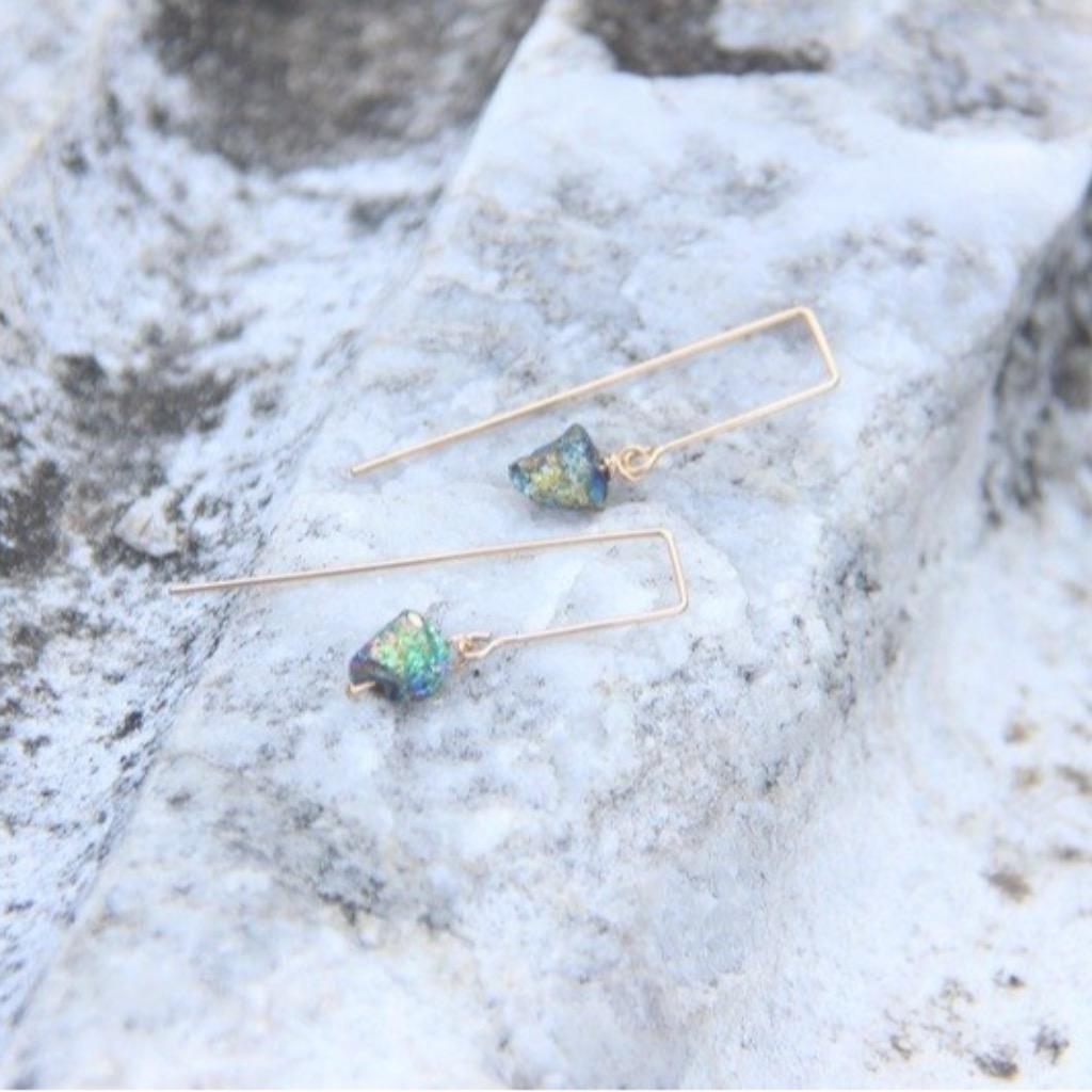 簡約鈦金屬色黃鐵礦耳環/Titanium Pyrite earring