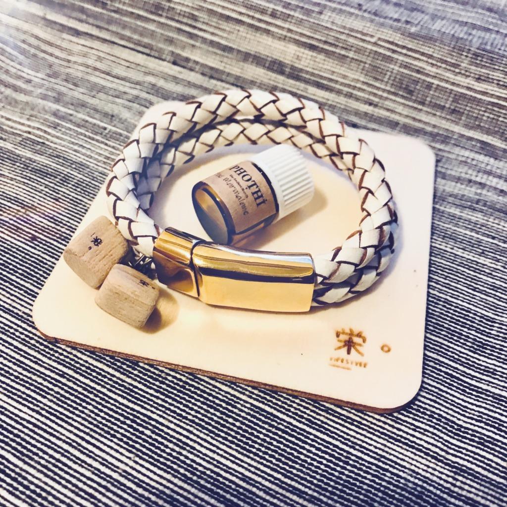 栄。擴香木香薰飾物 - 真皮手繩/手帶 (雙繩白色)