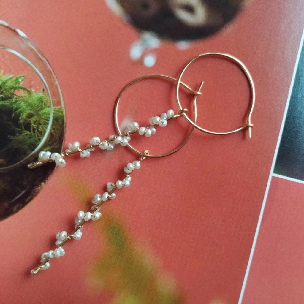 蓓蕾綻放天然淡水珍珠耳環/ Buds bloom water pearl earrings