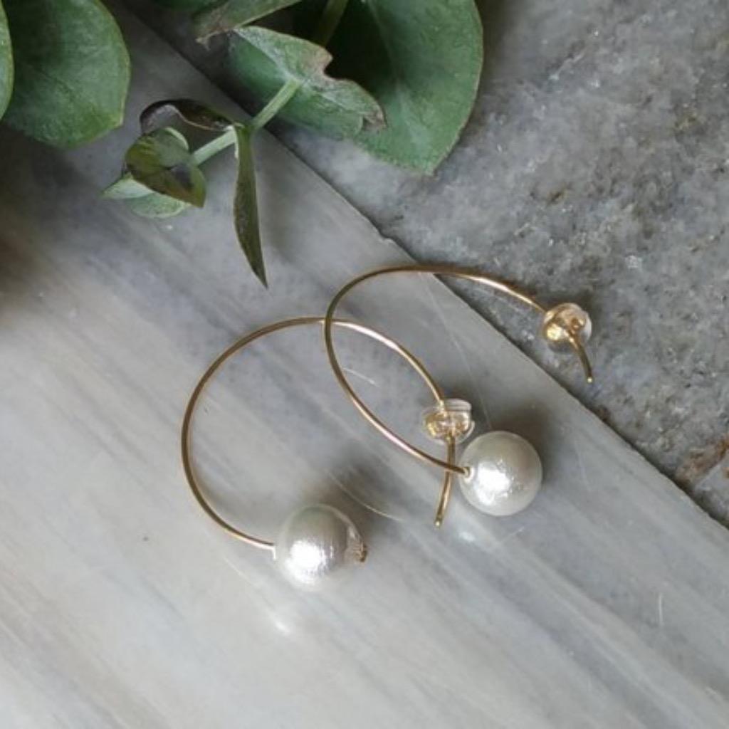 簡約棉花珍珠中型14K包金耳環