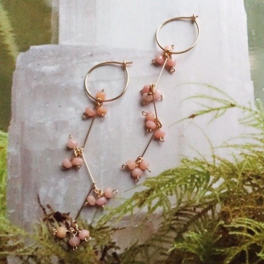 粉紅蛋白石14KGF耳環/ pink opal 14KGF earring