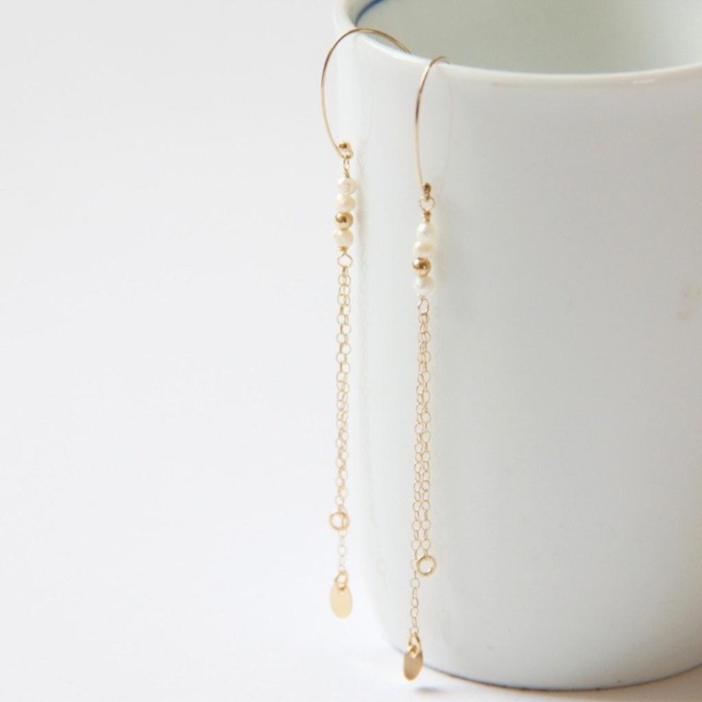"""跳耀的""""白"""" +1 天然淡水珍珠14KGF包金耳環 freshwater pearl"""