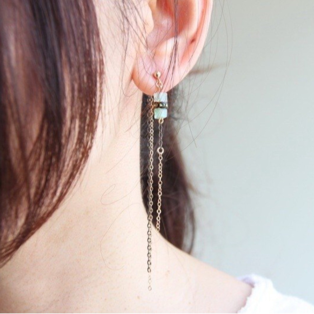 漾Der綠東菱石14KGF耳環/ 14KGF earring