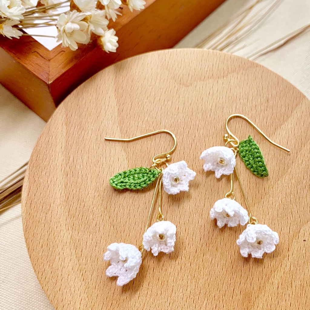 手工鉤織 鈴蘭 925silver 耳環 | Lily of Valley earrings