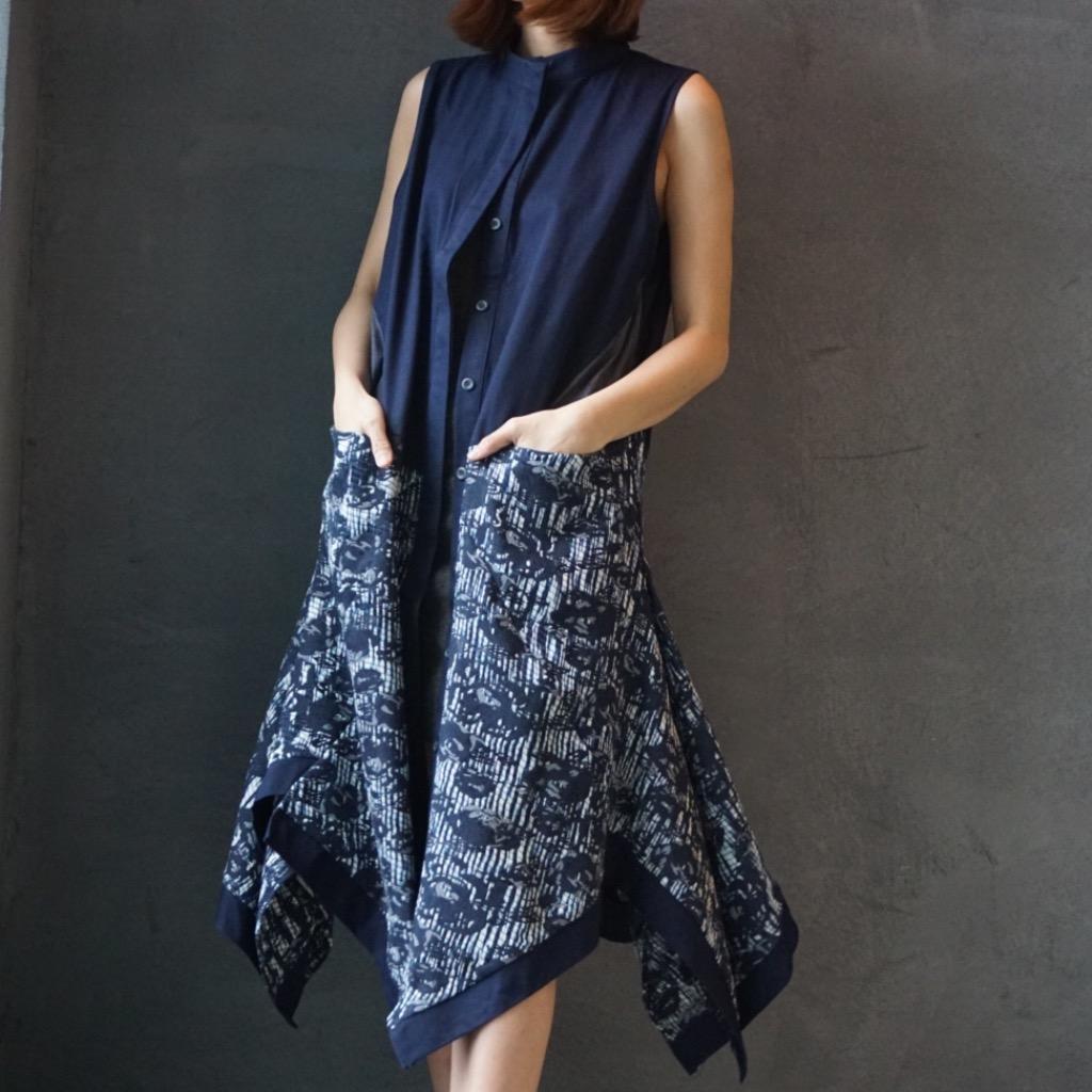 Elly w藍色背心外套連身裙