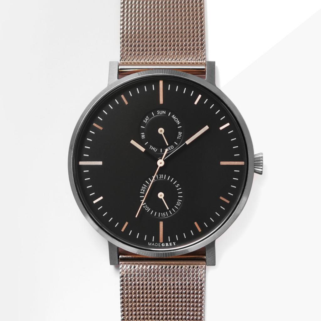 灰 x 玫瑰金色 MG002 手錶 | 鋼帶+皮帶套裝