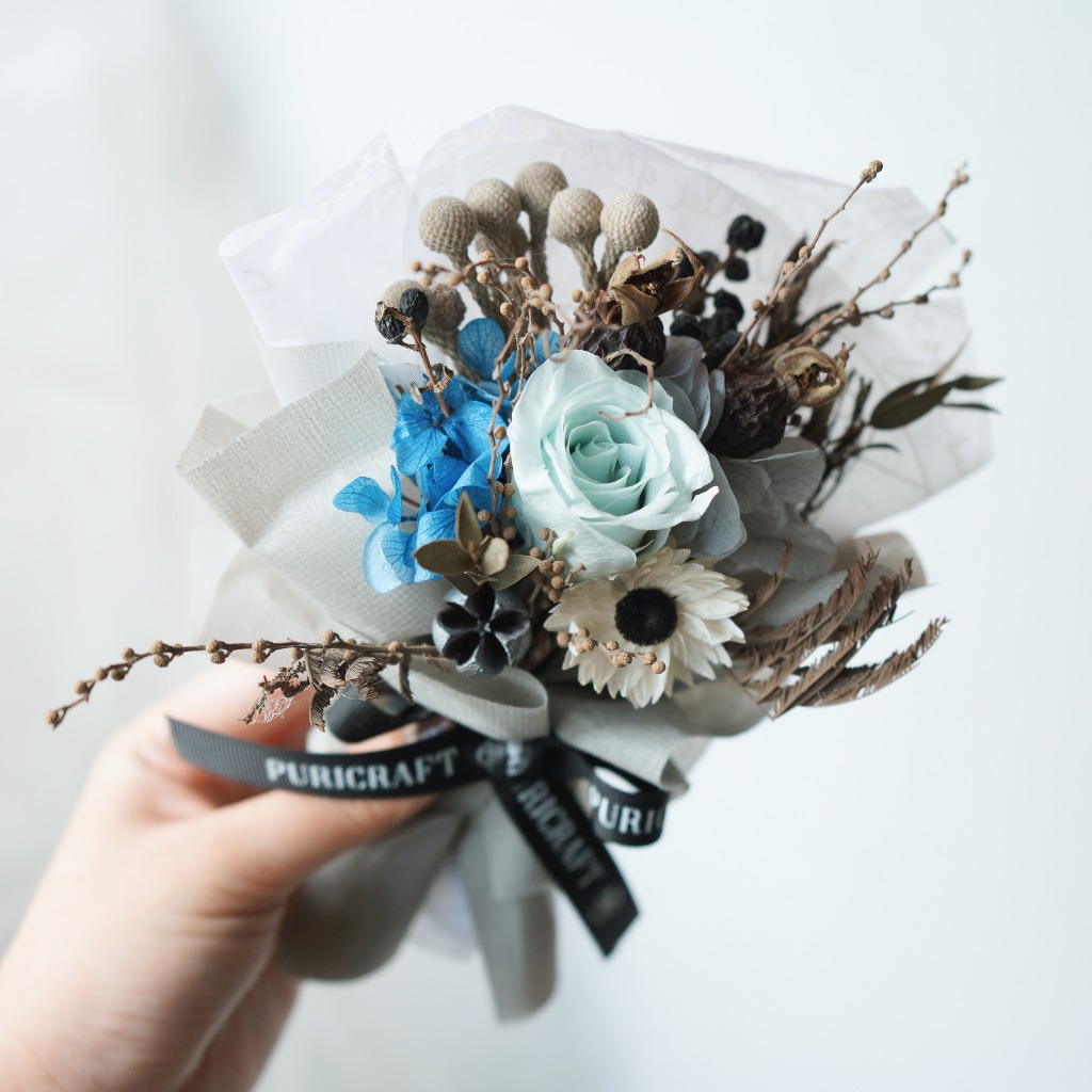 Puricraft | 藍色玫瑰花 | 迷你乾燥花束/生日/畢業/情人節花禮