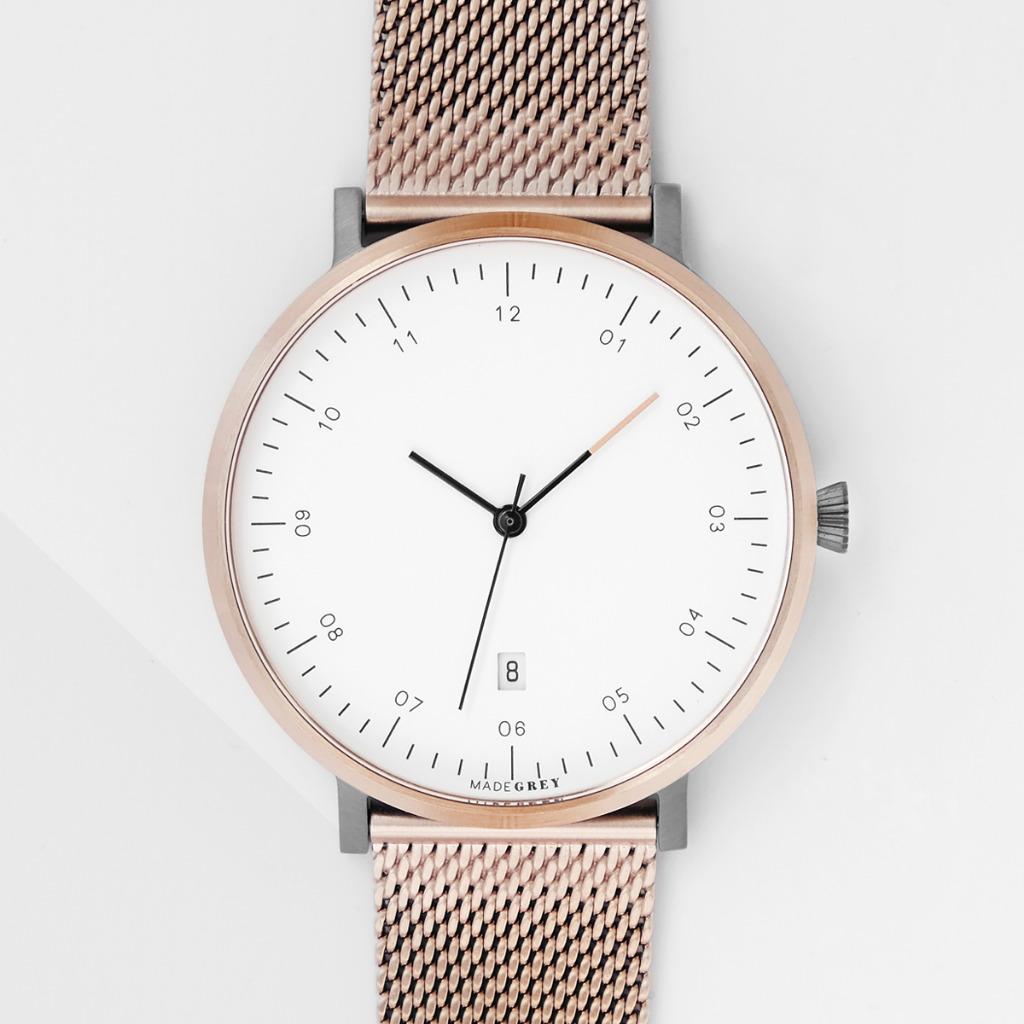 玫瑰金 x 灰色 MG001 手錶