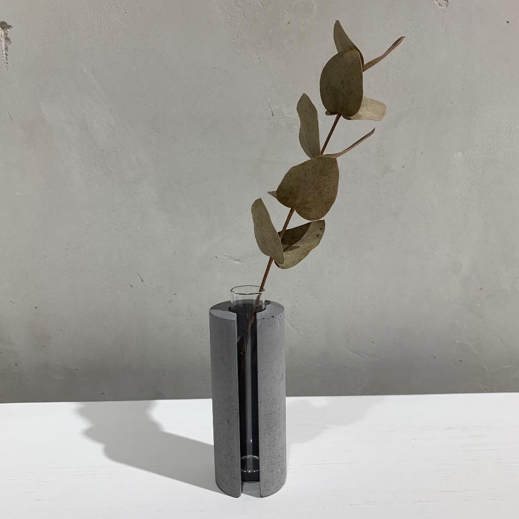 水泥花瓶   小型   圓   深灰
