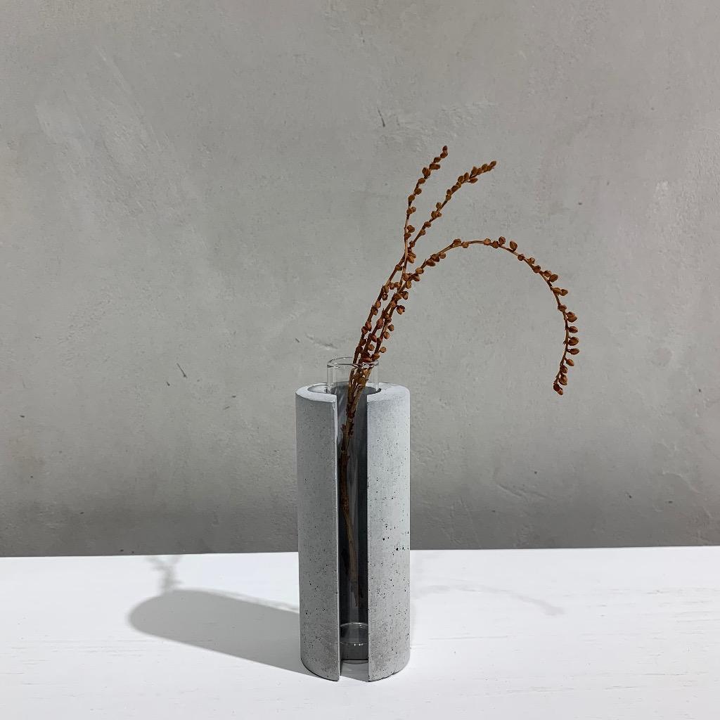 水泥花瓶 | 小型 | 圓 | 灰