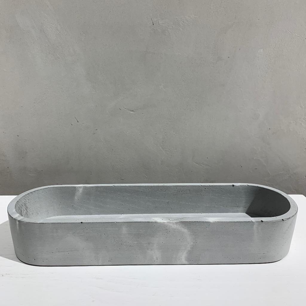 水泥置物皿 | 椭圆形(大) | 灰色大理石紋
