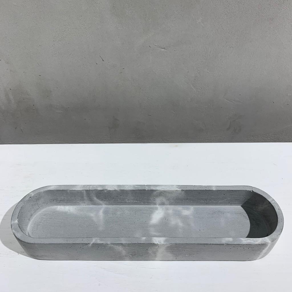 水泥置物皿 | 椭圆形(小) | 灰色大理石紋