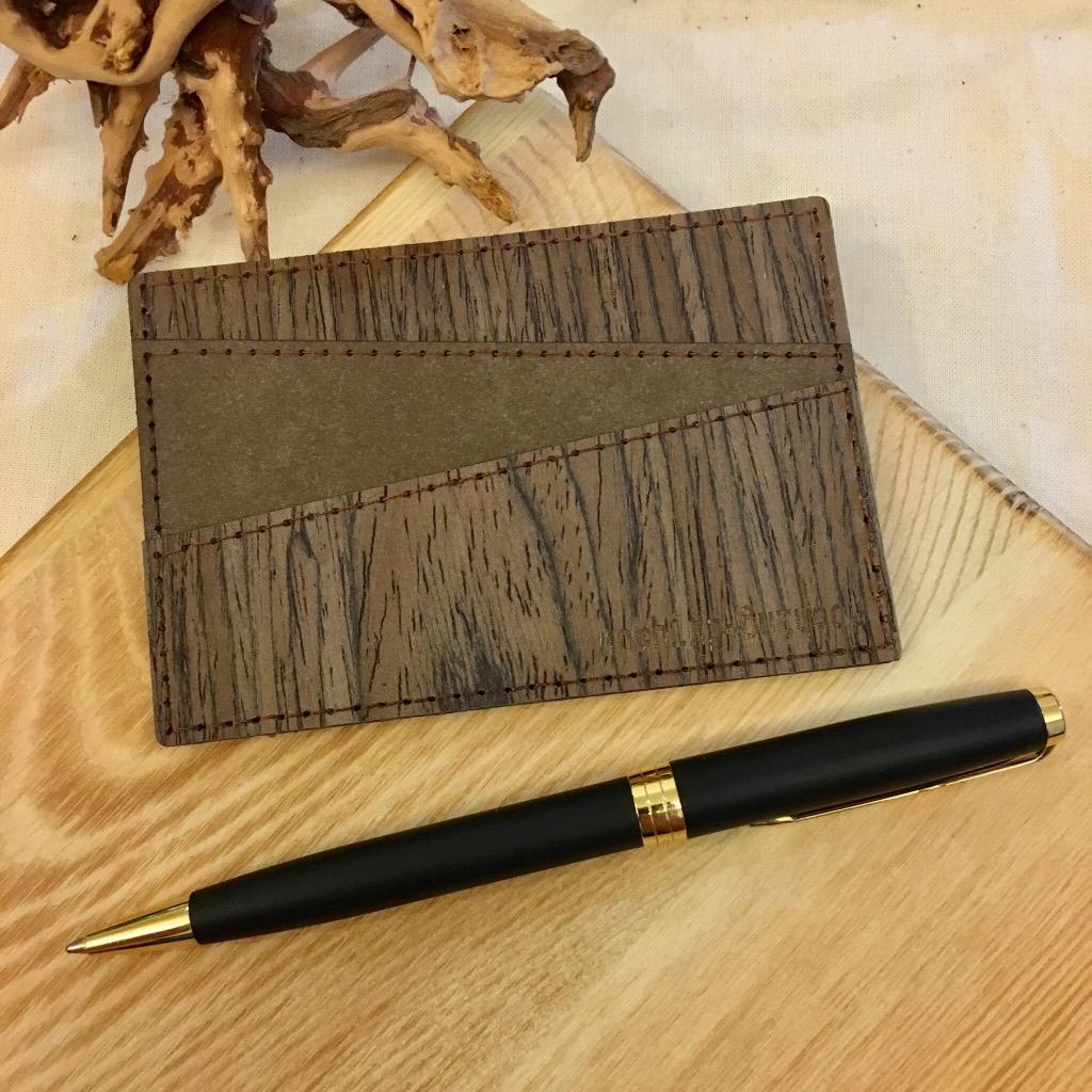 木製配洗水牛皮紙五格卡套