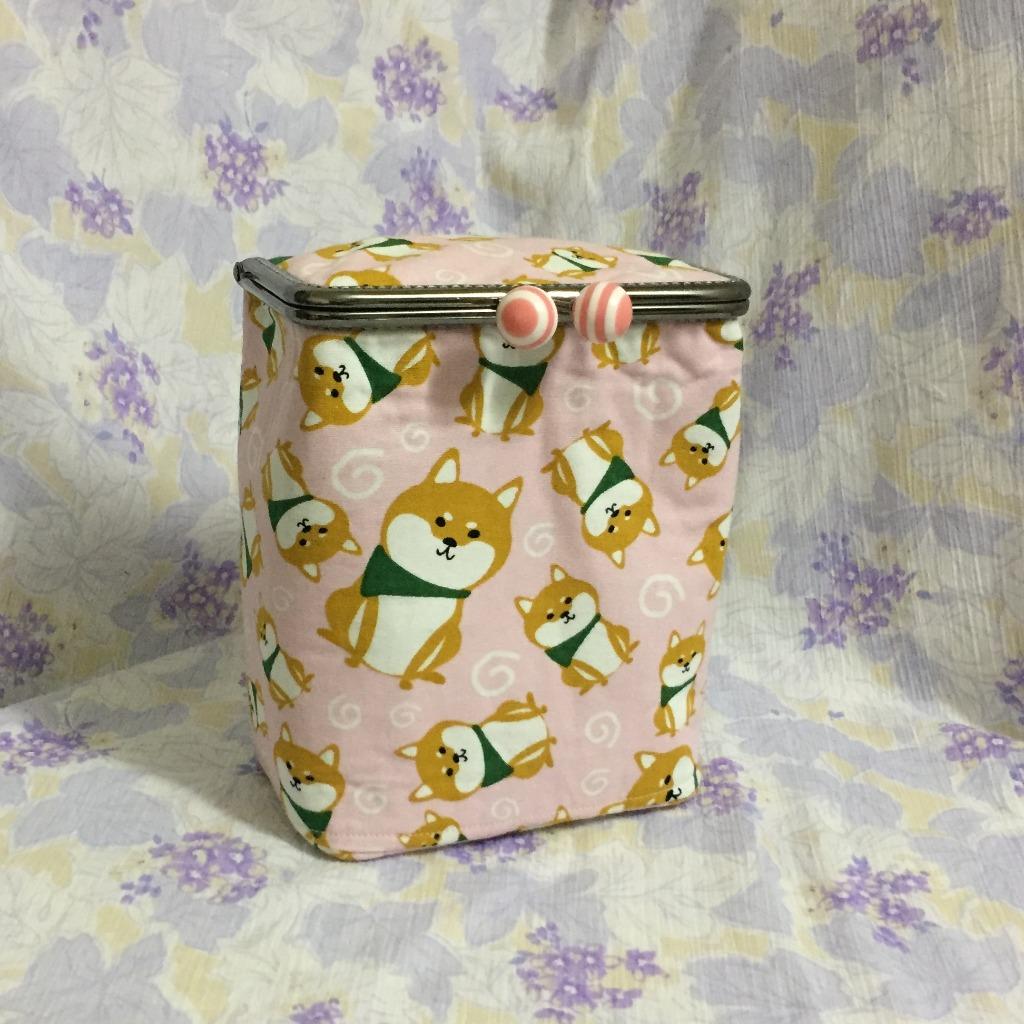 MBC﹒盒子口金包﹒粉紅色柴犬
