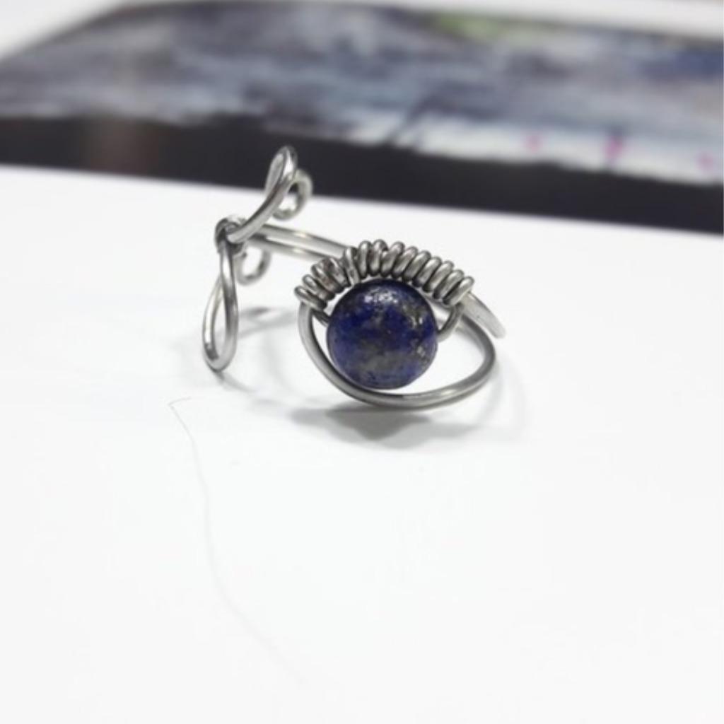 戒指 青金石可調式繞線不鏽鋼愛心戒指
