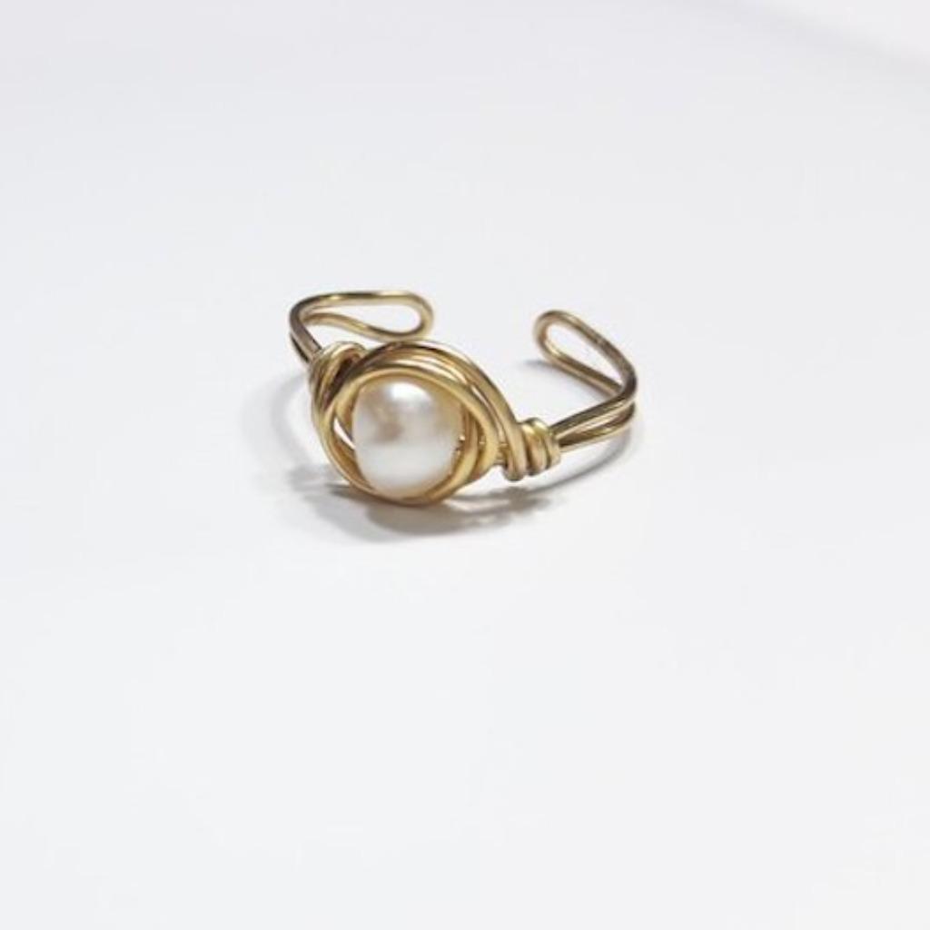 戒指 珍珠繞線可調式黃銅戒指