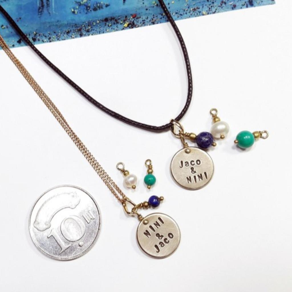 【情侶組】客製刻字黃銅吊牌皮繩&黃銅對鍊 情人節/聖誕禮物