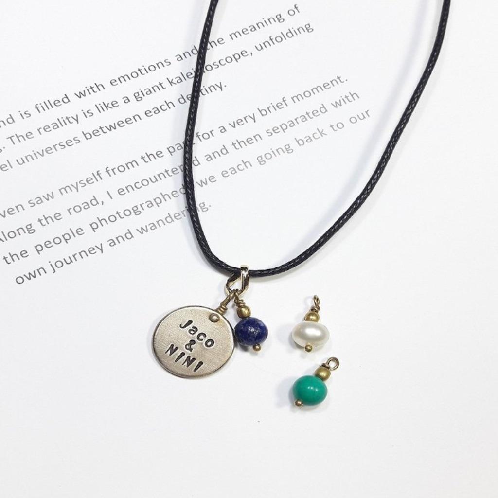 項鍊 客製刻字黃銅皮革項鍊(男款)情人節/聖誕節禮物