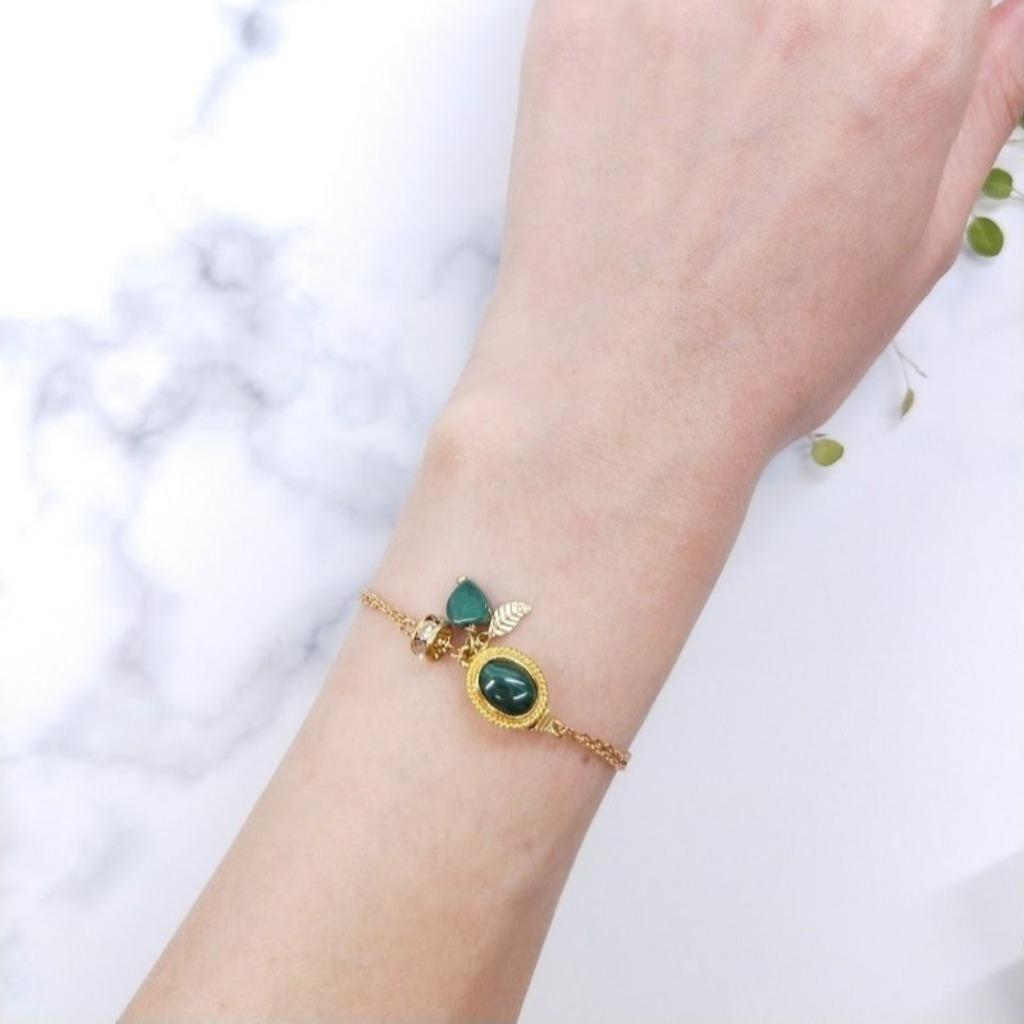 手環 孔雀石愛心 葉片鋯石黃銅雙層手鍊