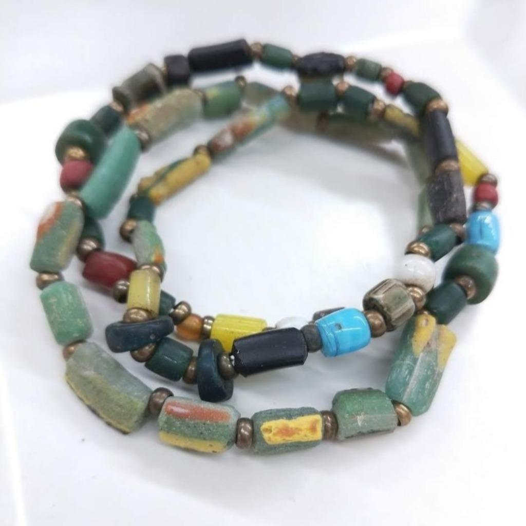 【獨一商品】多色古老琉璃 收藏珍品多圈手串