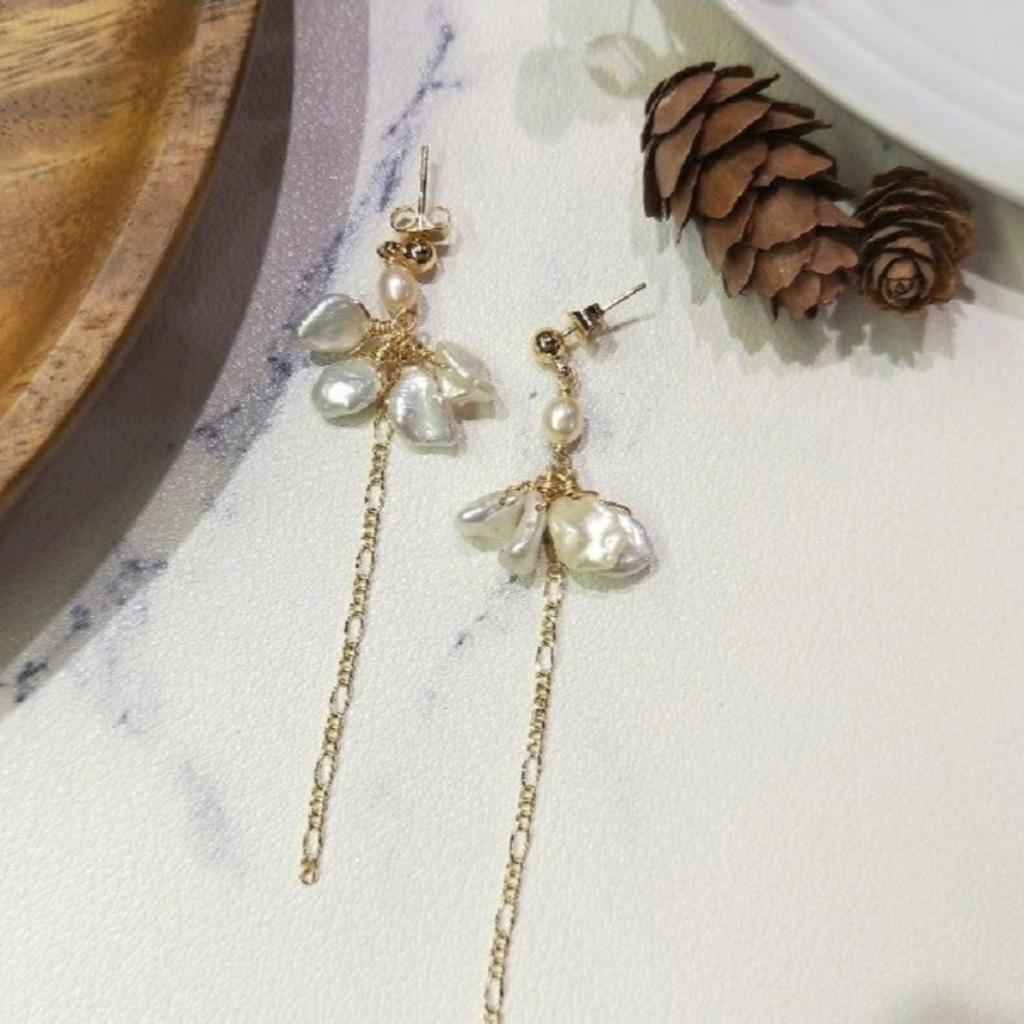 【18K包金 / 輕奢華系列】不規則珍珠天使耳針耳夾耳環