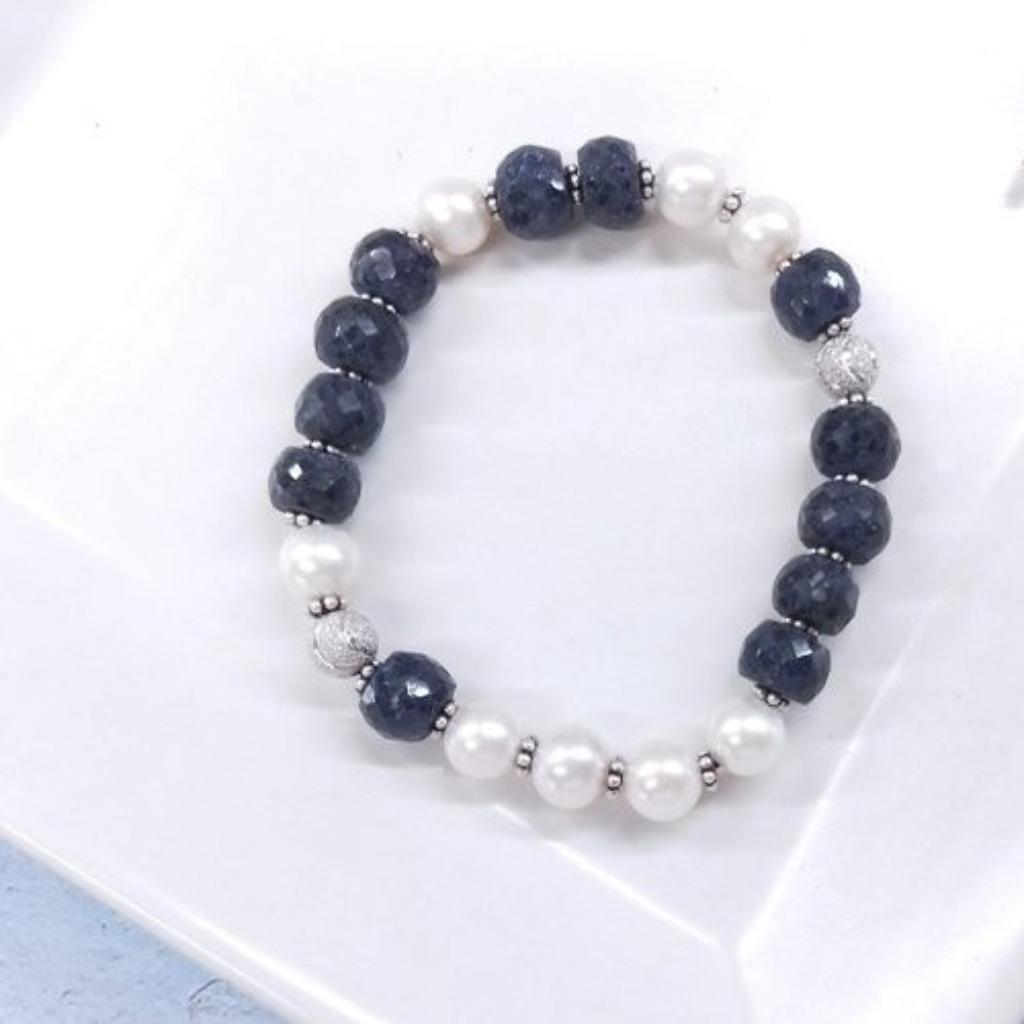【獨一商品】藍寶石原礦 珍珠 純銀珠手串