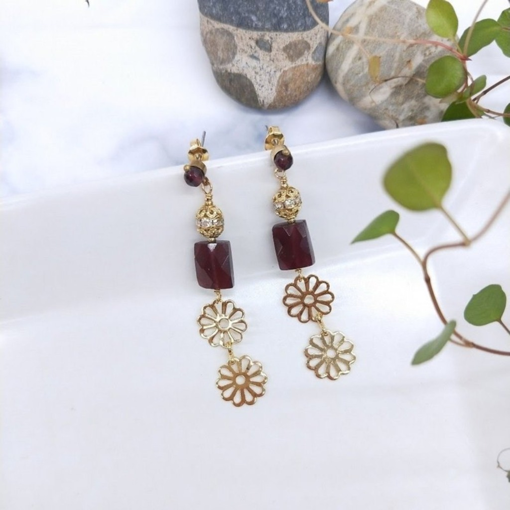 耳環 紅石榴石 黃銅鋯石花片不鏽鋼耳針耳環(可改夾式)