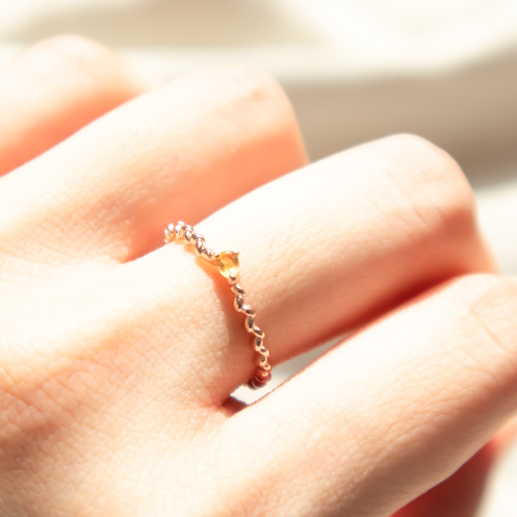 925 純銀[433 Studio]小水滴黃晶扭紋戒指