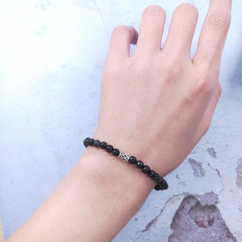 手環 黑髮晶純銀珠手串