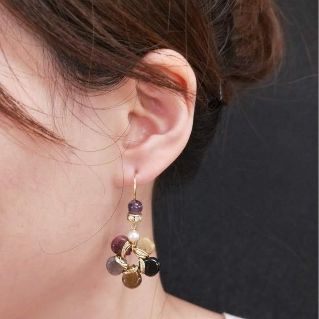 耳環 碧璽花朵 紫水晶鋯石耳勾耳夾耳環