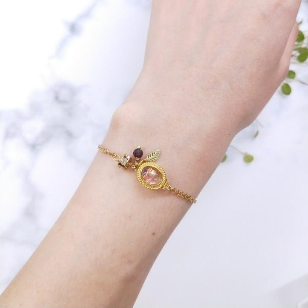 手環 紫螢石 紅石榴石 葉片鋯石黃銅雙層手鍊