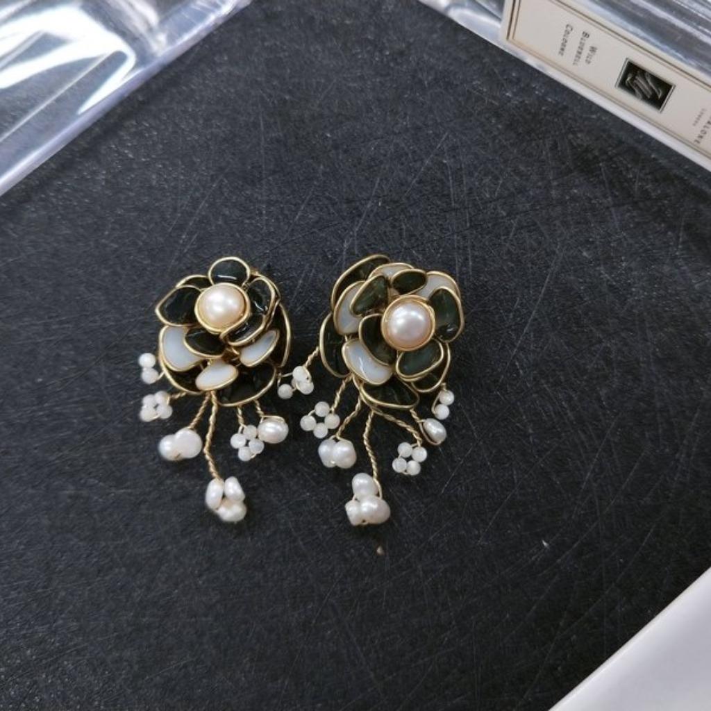 耳環 花嫁系列 花球珍珠 貝殼珠手染樹脂耳針耳夾耳環