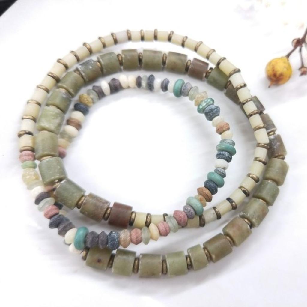 【獨一商品】細緻古老琉璃 收藏珍品多圈手串
