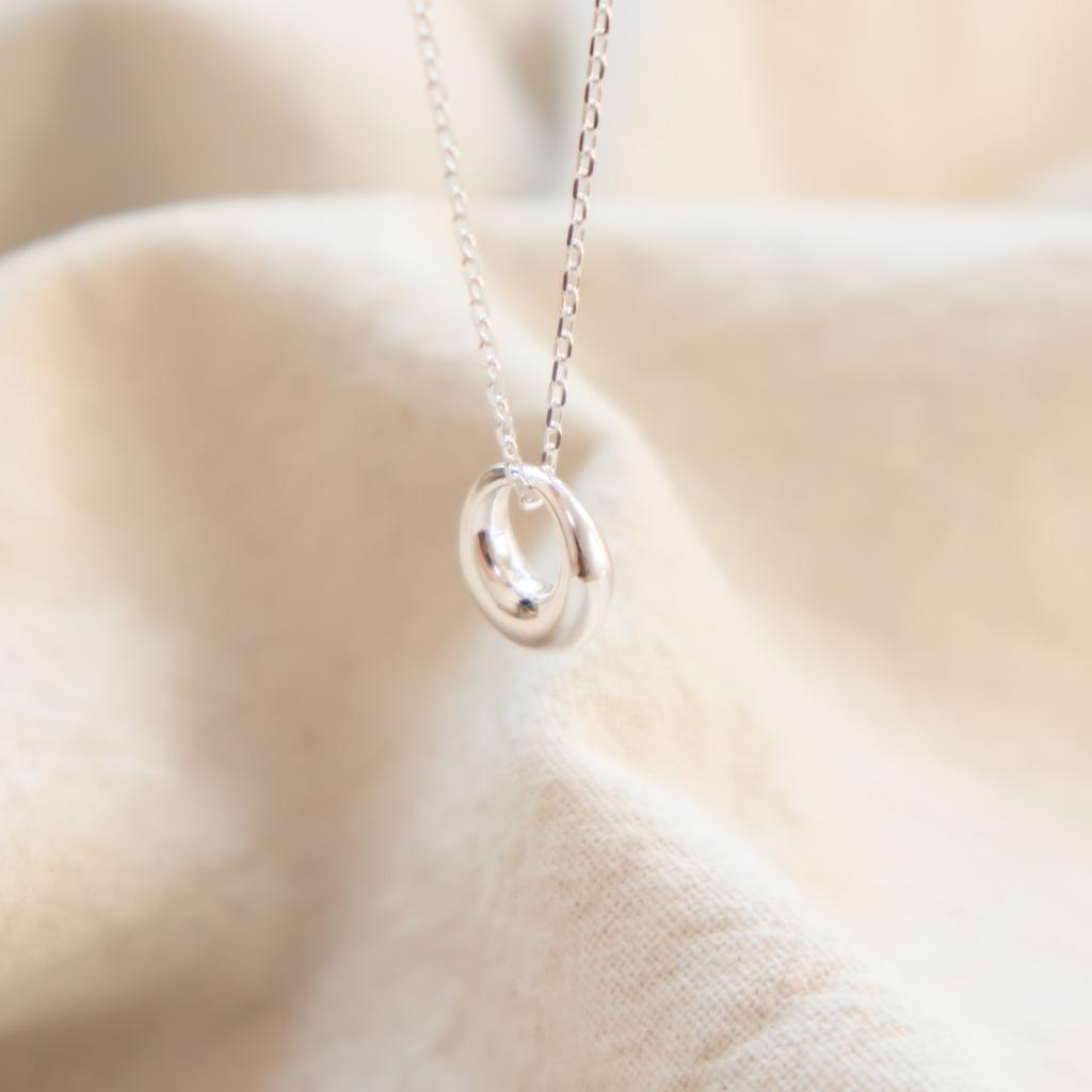 [433 Studio]925 純銀立體甜甜圈頸鏈 - 銀色