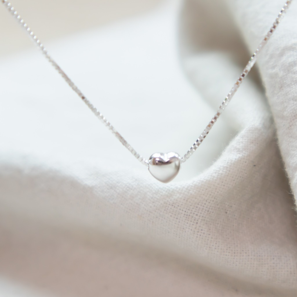 [433 Studio]925 純銀立體心心頸鏈 - 銀色