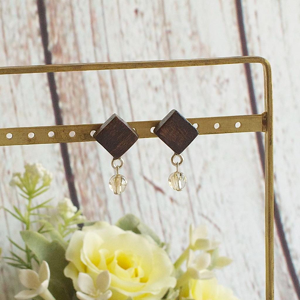 方形 原木 淡金水晶 手工耳環 純銀耳針 禮物訂製
