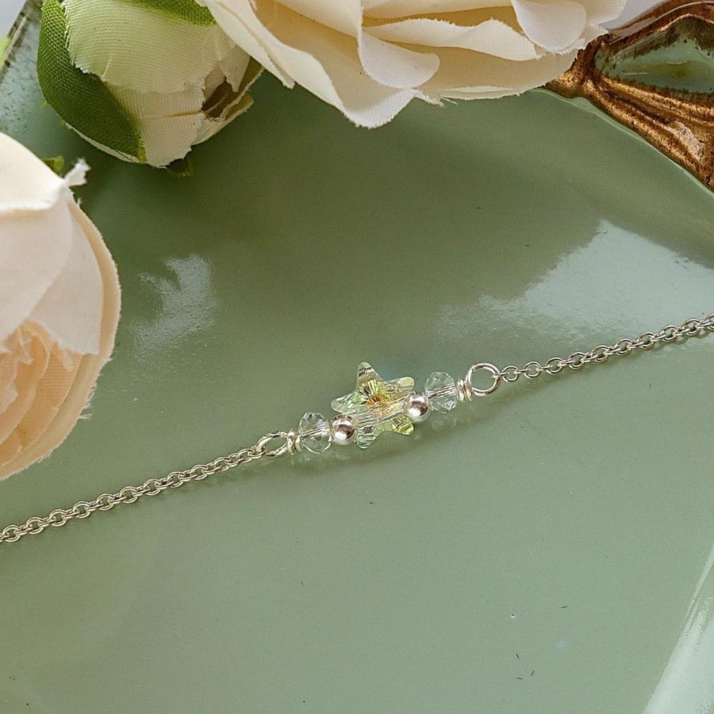 施華洛世奇星形水晶手鍊 手工純銀手鍊 禮物訂製