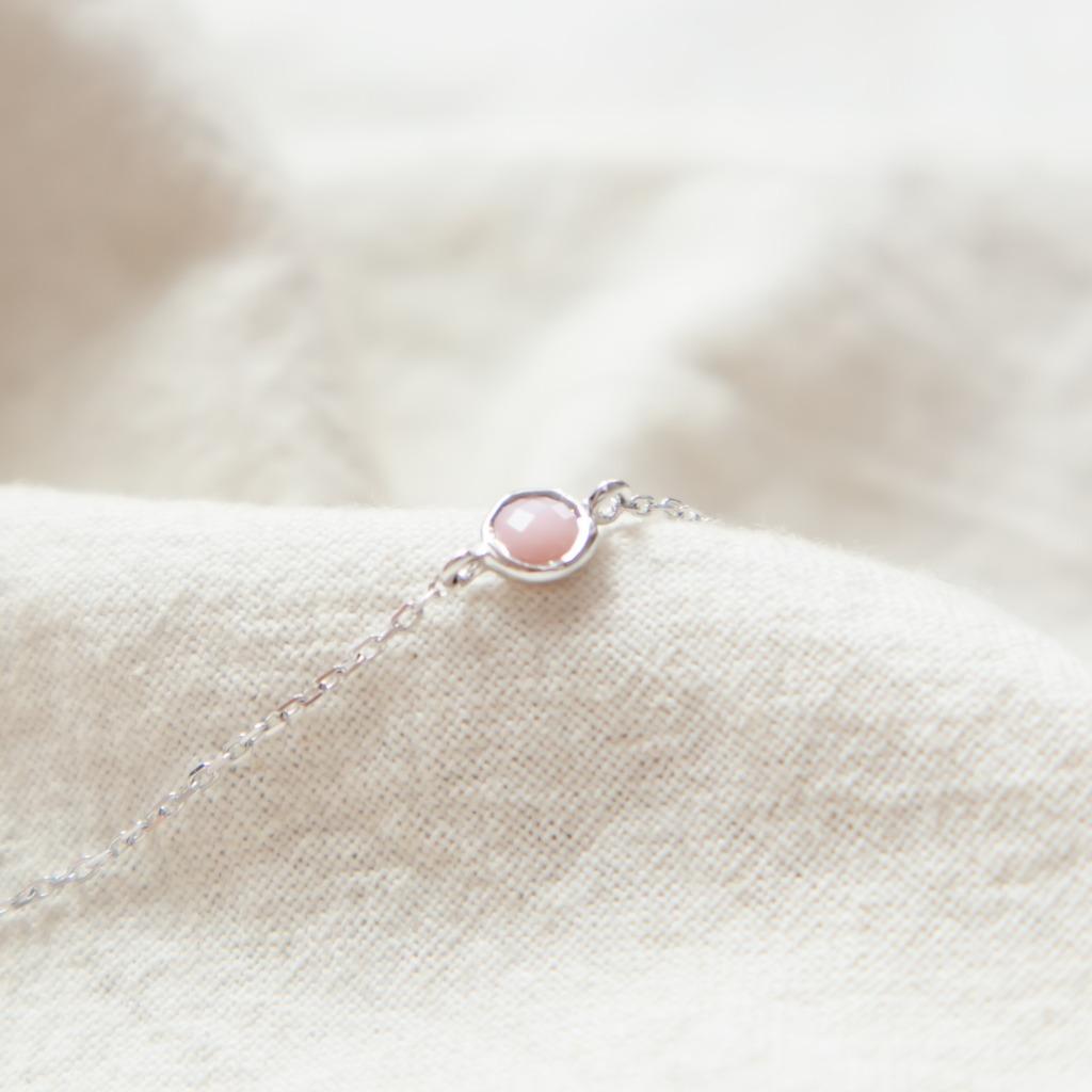 [433 Studio]925 純銀簡約小圓彩虹月亮石手鏈 - 銀