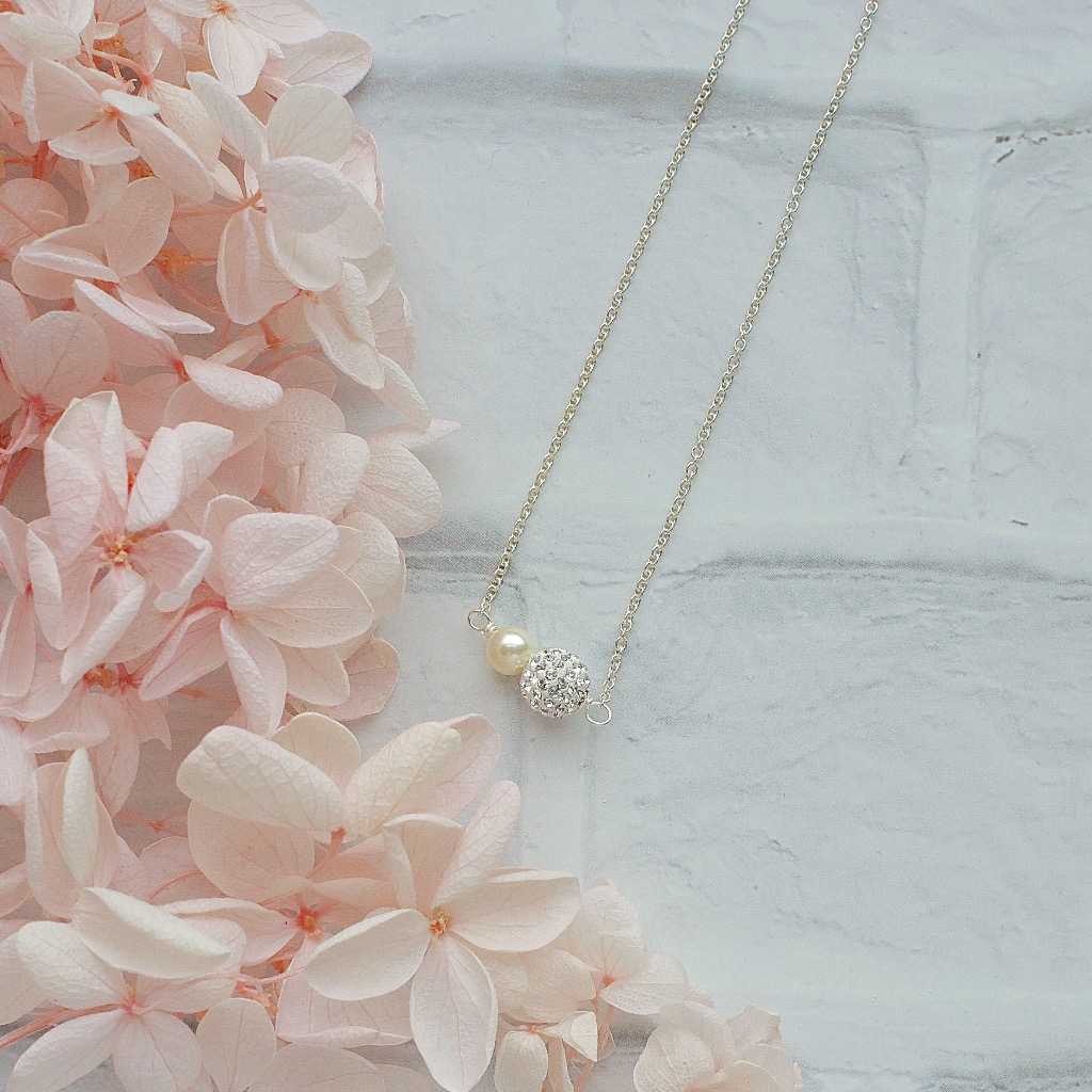 閃鑽水晶 珍珠頸鏈 施華洛世奇手工頸鍊 禮物訂製