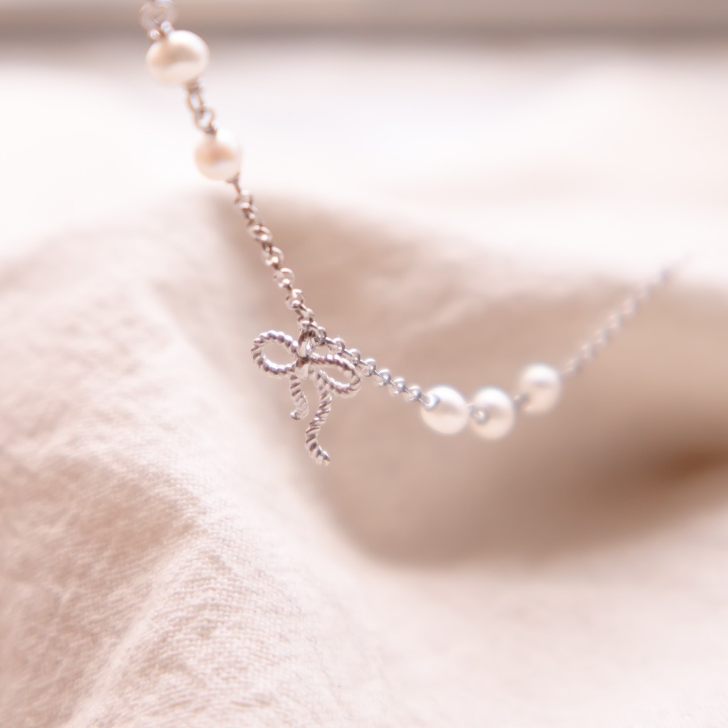 [433 Studio] 925 silver 3 + 2 + 1 小珍珠蝴蝶結手鏈- 銀Handmade‧Gift