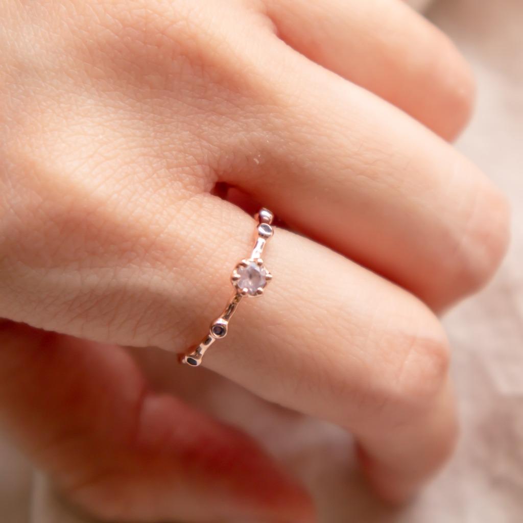 [433 Studio] 925 silver 六爪圓形薔薇石 + 小圓堇青石戒指
