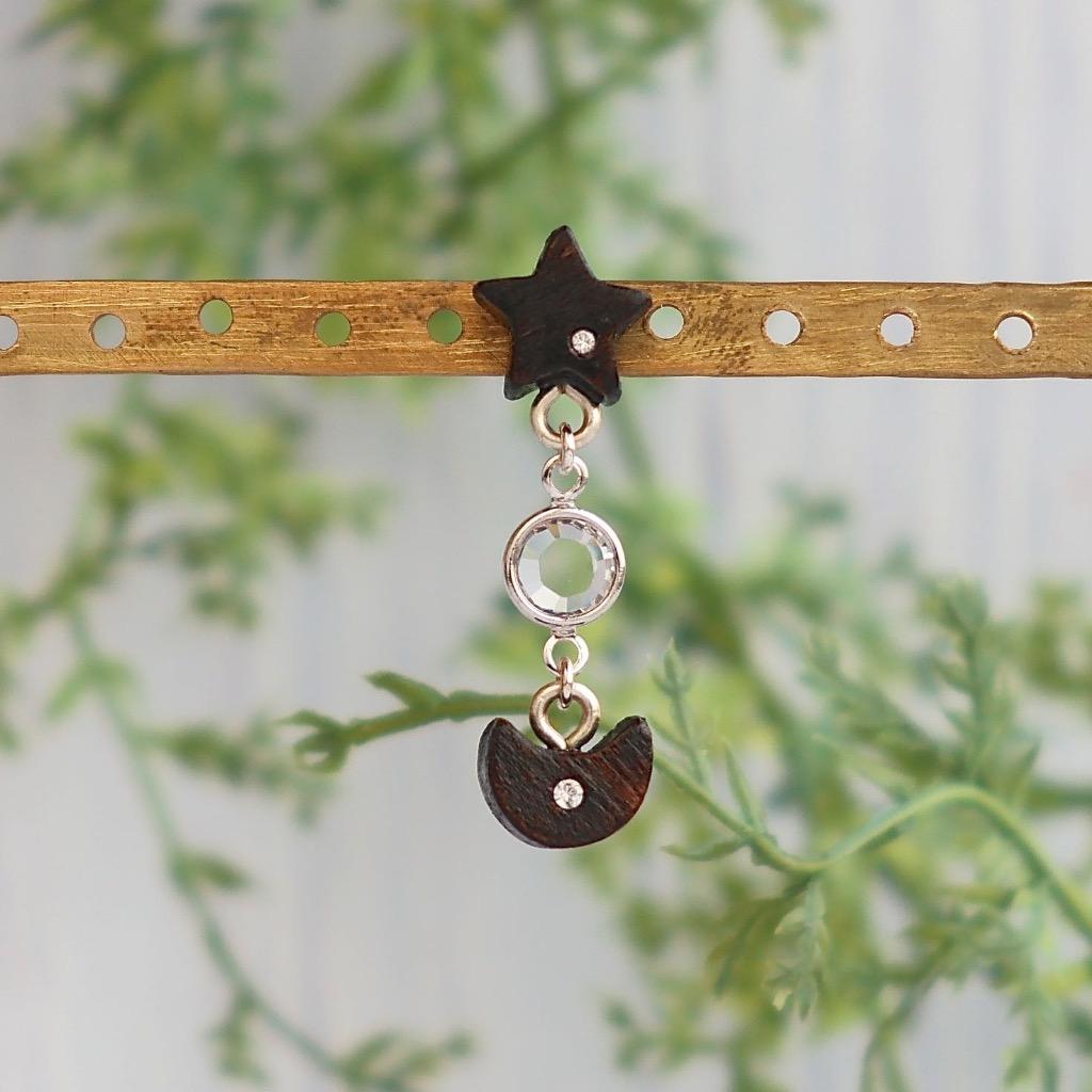星與月 原木手工耳環 純銀耳針 單個 禮物訂製訂製