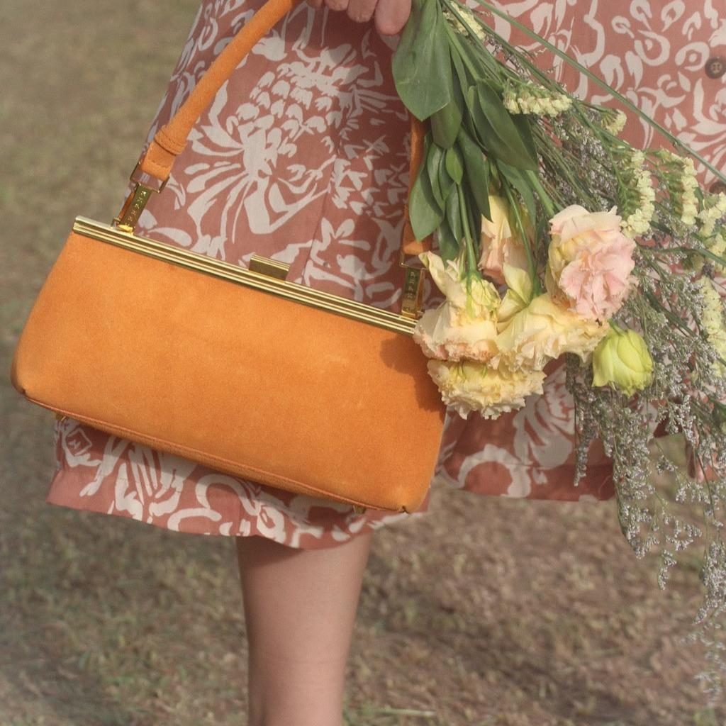 1950經典相框口金手袋 - 淺啡