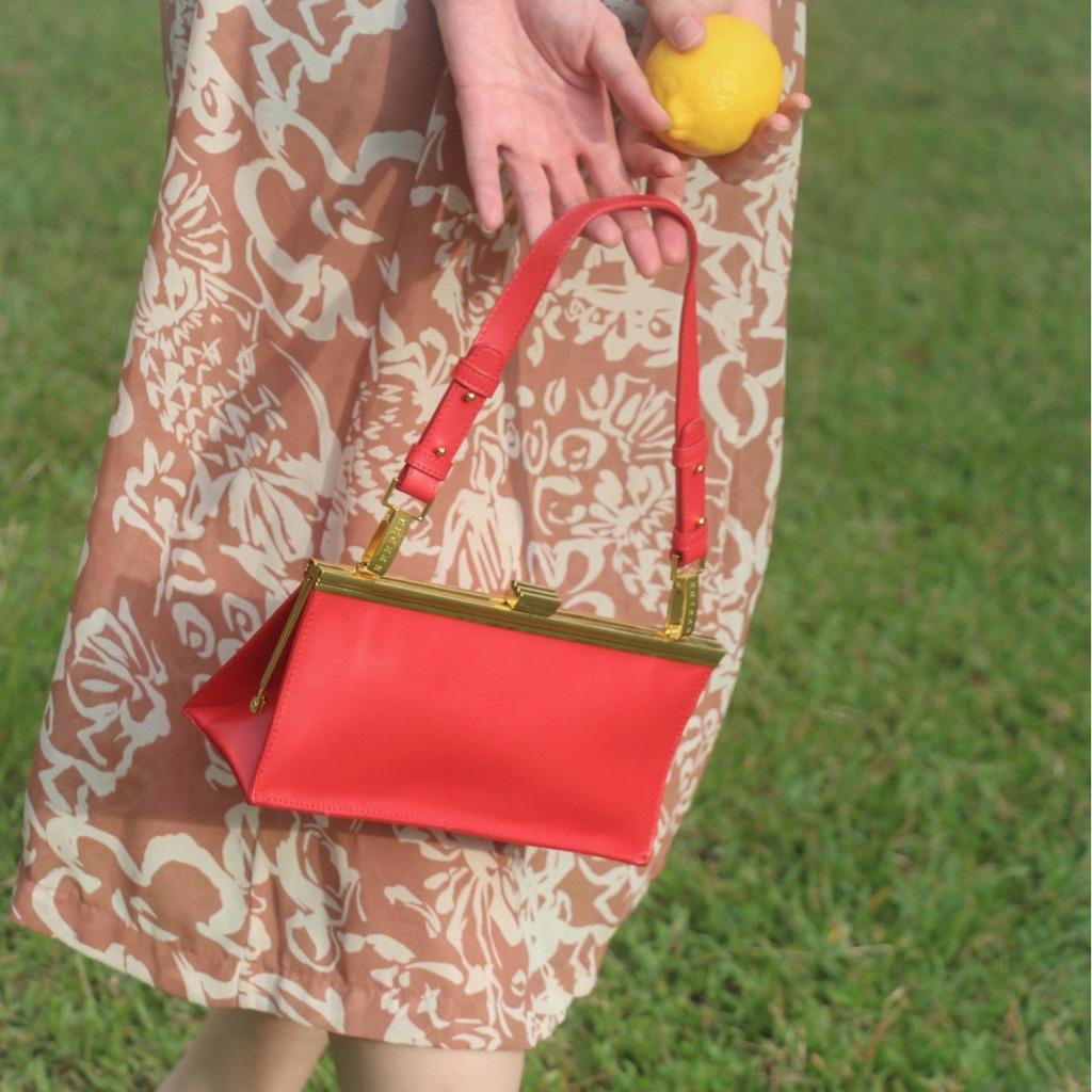 1950經典相框口金手袋 - 艷紅