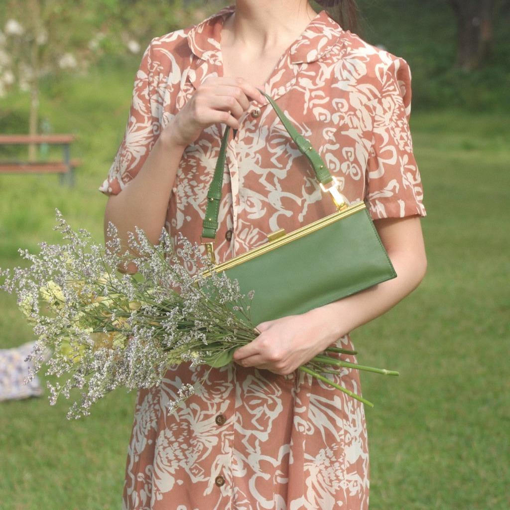 1950經典相框口金手袋 - 草綠