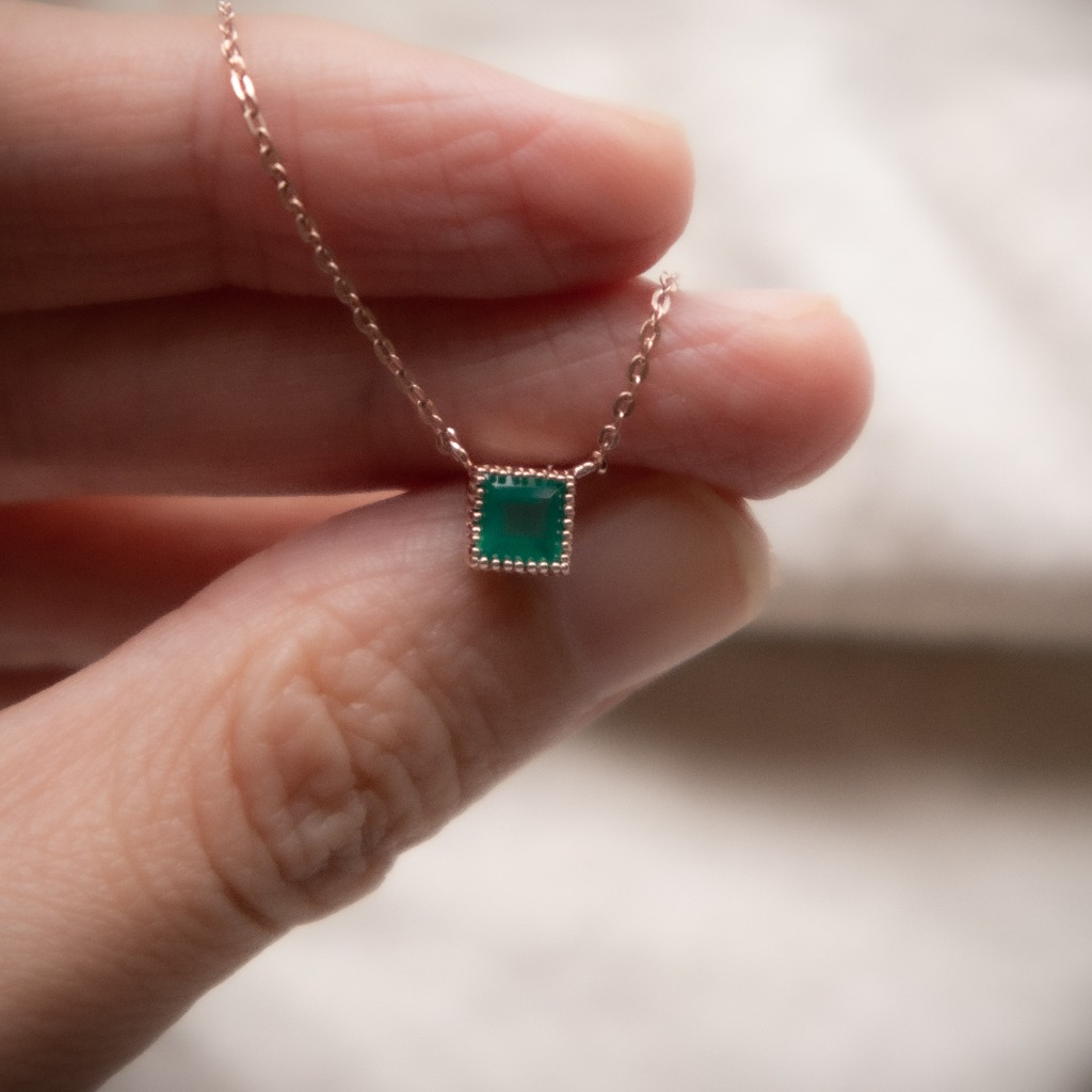 [433 Studio] 925 silver 馬賽克小方塊綠瑪瑙頸鏈-玫瑰金