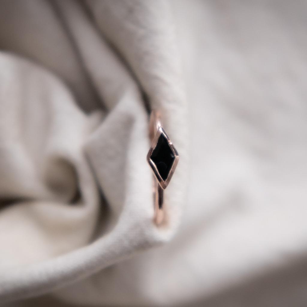[433 Studio] 925 silver 小長菱形黑瑪瑙戒指