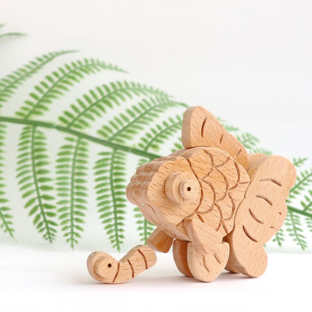 手工木製磁合擺設 木質模型 金魚 禮物訂製