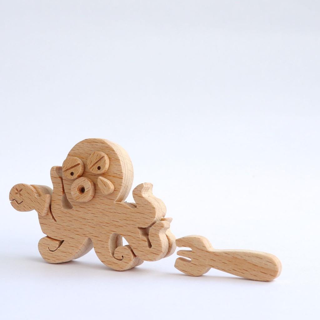 手工木製磁合擺設 木質模型 叉子與八爪魚 禮物訂製