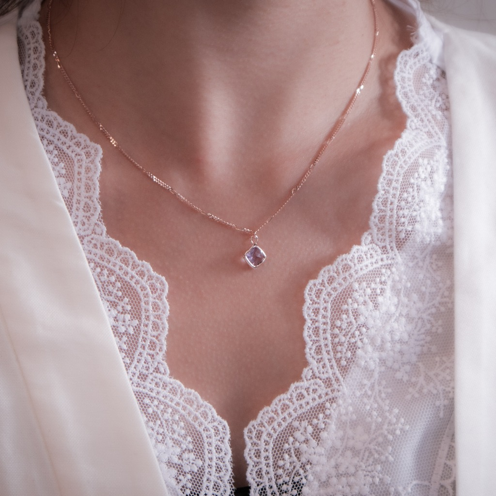 [433 Studio] 925 silver 包邊菱形紫水晶頸鏈